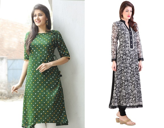 Bandani Print And Chinese Collar Kurties