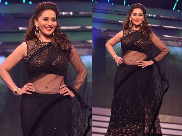 Black Sequined Net Saree From Madhuri Dixit