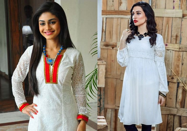 White Kurtis With Embellished Neckline And Jewellery