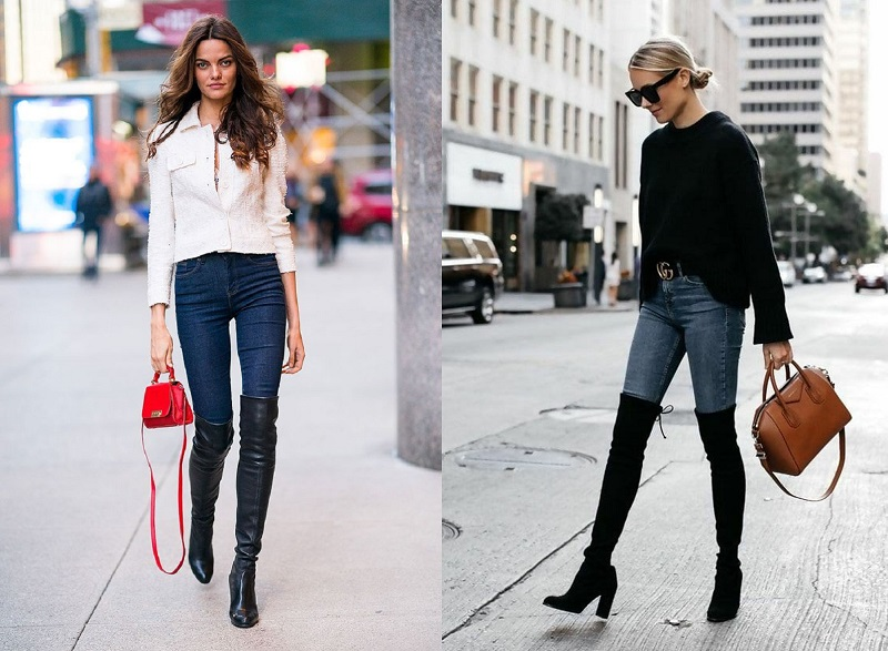 Knee High Boots with Skinny Jeans