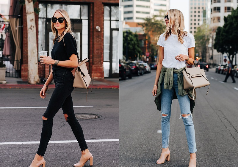 Nude Mule Sandals with Skinny Jeans